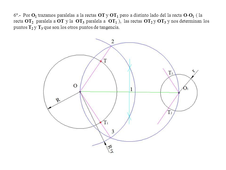 6º.- Por O1 trazamos paralelas a la rectas OT y OT1 pero a distinto lado del la recta O-O1 ( la recta OT2 paralela a OT y la OT3 paralela a OT1 ), las rectas OT2 y OT3 y nos determinan los puntos T2 y T3 que son los otros puntos de tangencia.