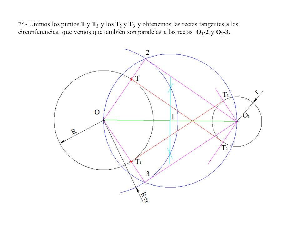 7º.- Unimos los puntos T y T2 y los T2 y T3 y obtenemos las rectas tangentes a las circunferencias, que vemos que también son paralelas a las rectas O1-2 y O1-3.