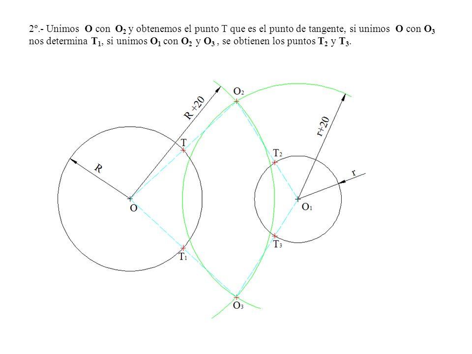 2º.- Unimos O con O2 y obtenemos el punto T que es el punto de tangente, si unimos O con O3 nos determina T1, si unimos O1 con O2 y O3 , se obtienen los puntos T2 y T3.