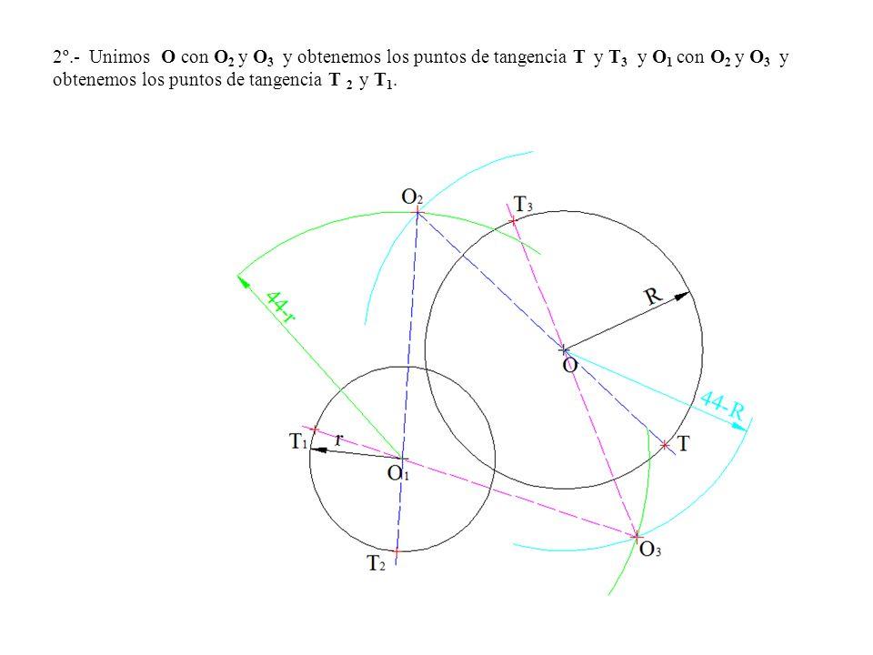 2º.- Unimos O con O2 y O3 y obtenemos los puntos de tangencia T y T3 y O1 con O2 y O3 y obtenemos los puntos de tangencia T 2 y T1.