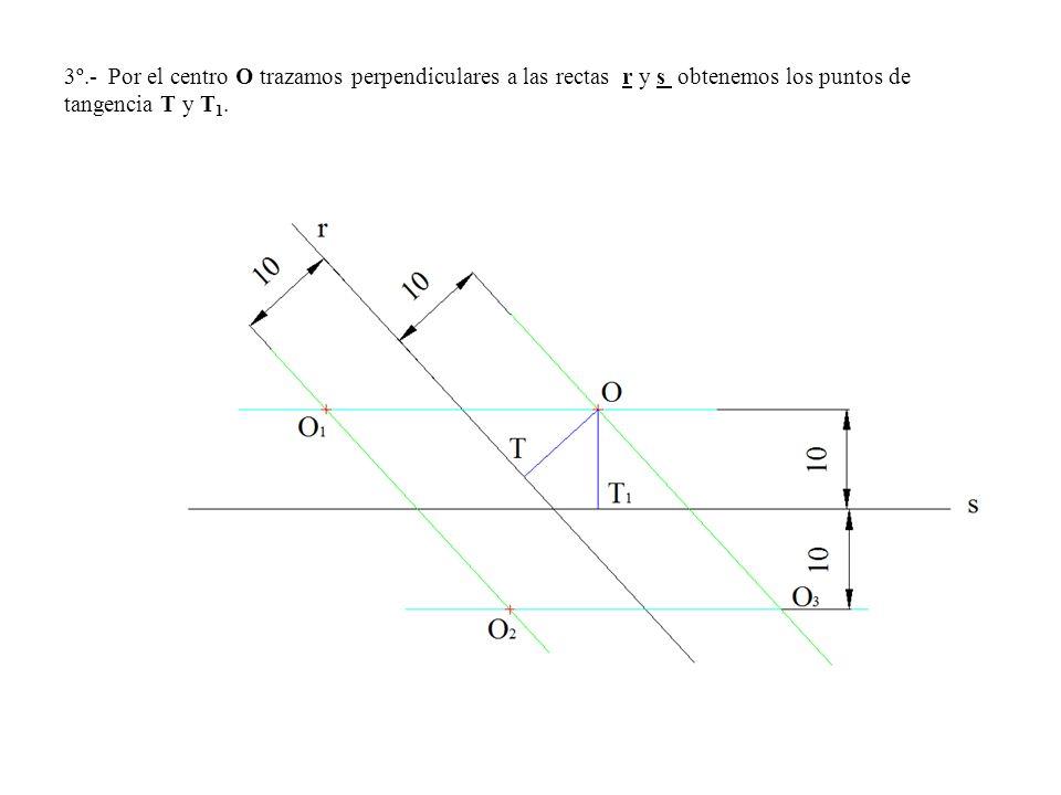3º.- Por el centro O trazamos perpendiculares a las rectas r y s obtenemos los puntos de tangencia T y T1.