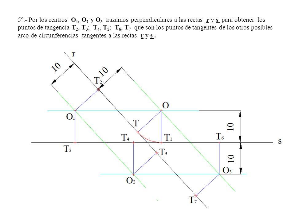 5º.- Por los centros O1, O2 y O3 trazamos perpendiculares a las rectas r y s para obtener los puntos de tangencia T2, T3; T4, T5; T6, T7 que son los puntos de tangentes de los otros posibles arco de circunferencias tangentes a las rectas r y s .