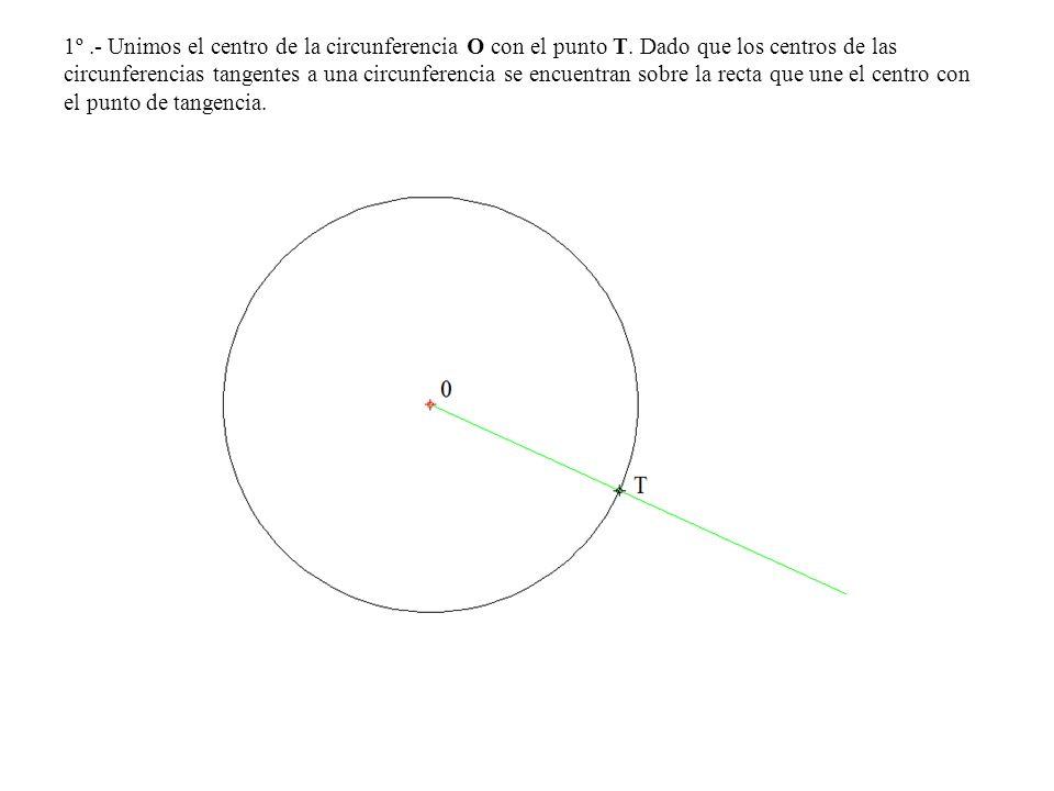 1º. - Unimos el centro de la circunferencia O con el punto T