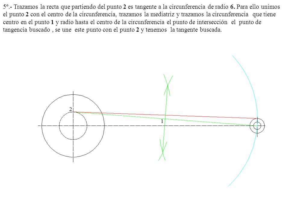 5º.- Trazamos la recta que partiendo del punto 2 es tangente a la circunferencia de radio 6.