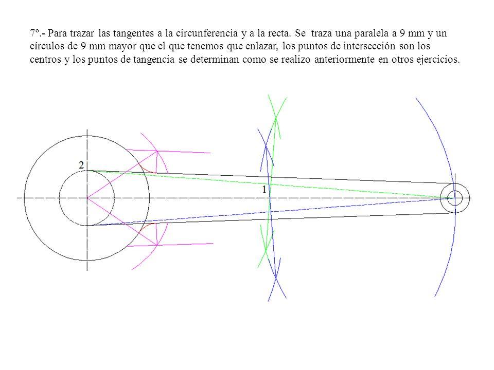 7º. - Para trazar las tangentes a la circunferencia y a la recta