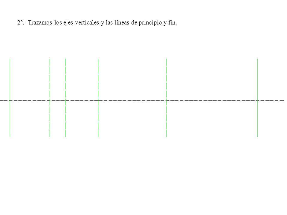 2º.- Trazamos los ejes verticales y las líneas de principio y fin.