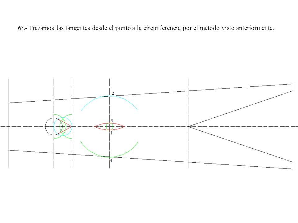 6º.- Trazamos las tangentes desde el punto a la circunferencia por el método visto anteriormente.