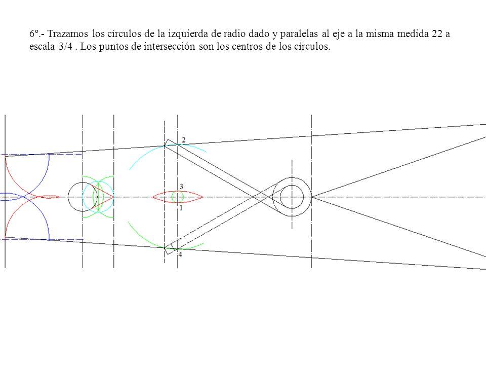 6º.- Trazamos los círculos de la izquierda de radio dado y paralelas al eje a la misma medida 22 a escala 3/4 .