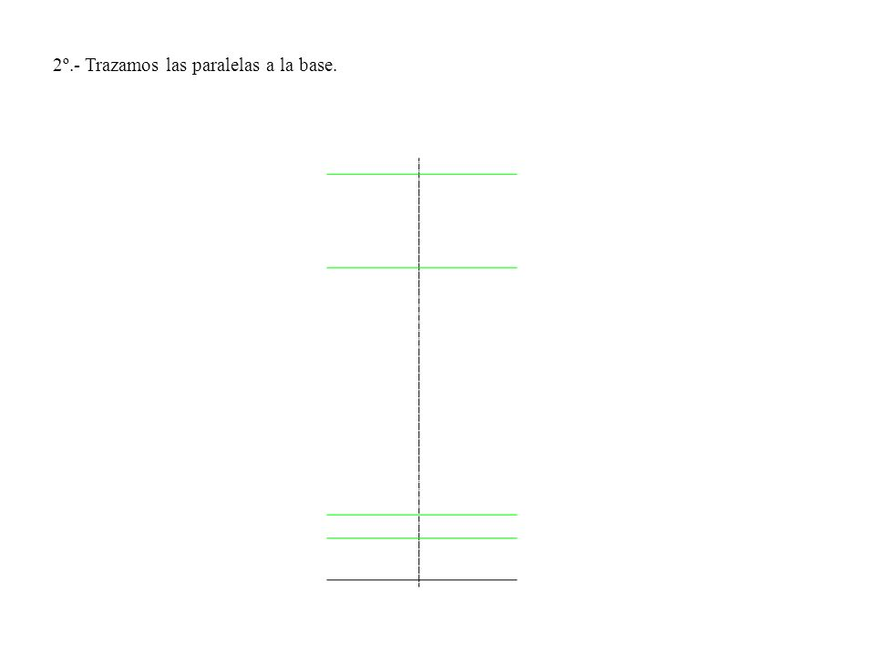 2º.- Trazamos las paralelas a la base.