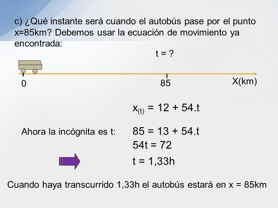 c) ¿Qué instante será cuando el autobús pase por el punto x=85km