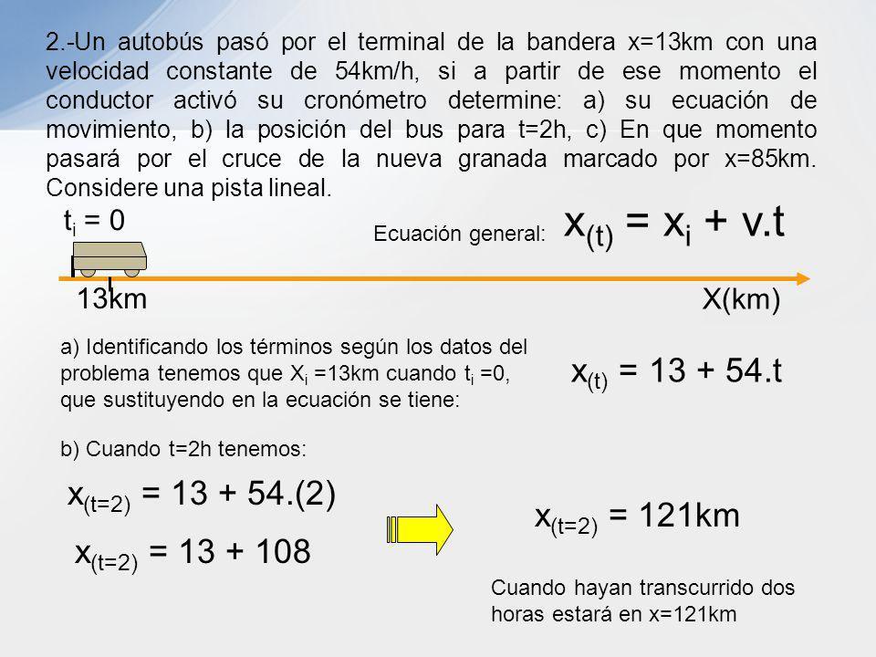 x(t) = xi + v.t x(t) = 13 + 54.t x(t=2) = 13 + 54.(2) x(t=2) = 121km