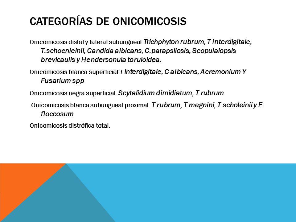 Categorías de onicomicosis