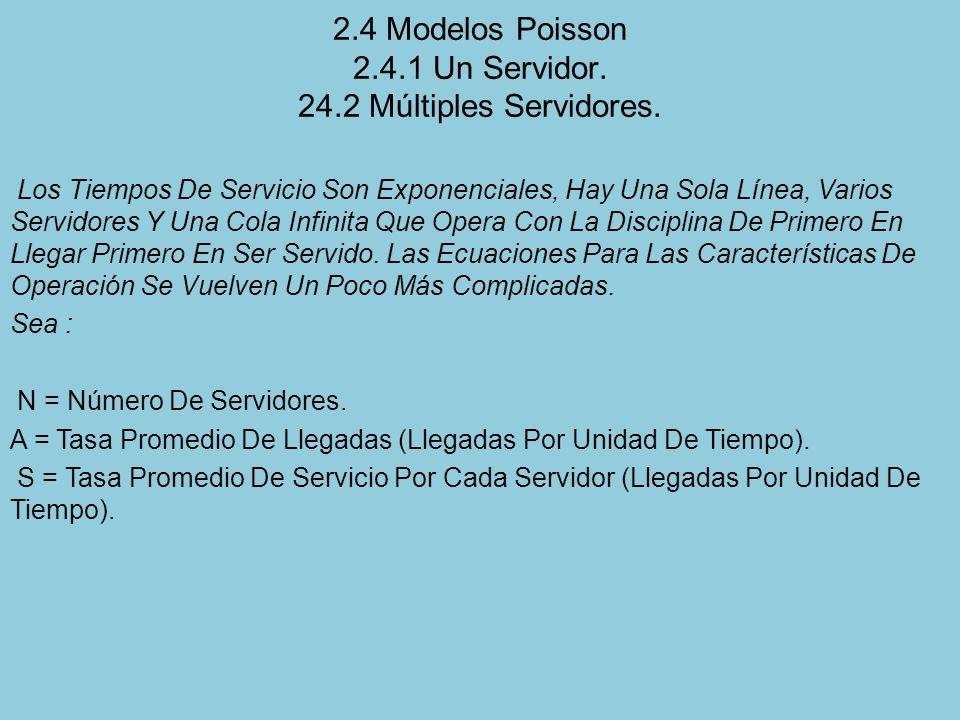 2.4 Modelos Poisson 2.4.1 Un Servidor. 24.2 Múltiples Servidores.