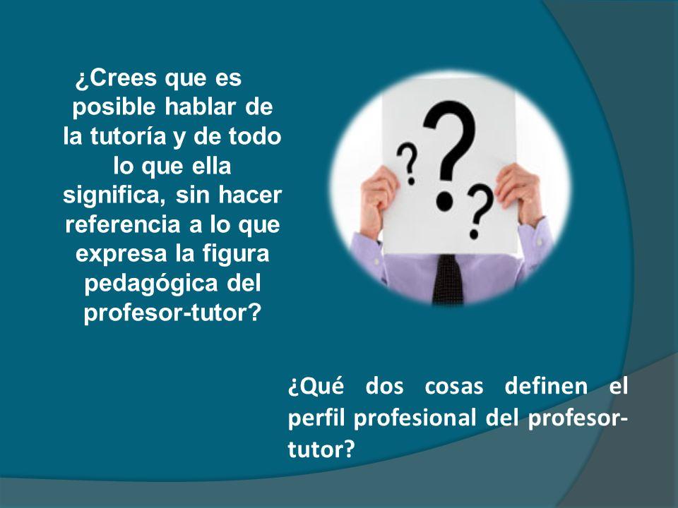 ¿Qué dos cosas definen el perfil profesional del profesor-tutor