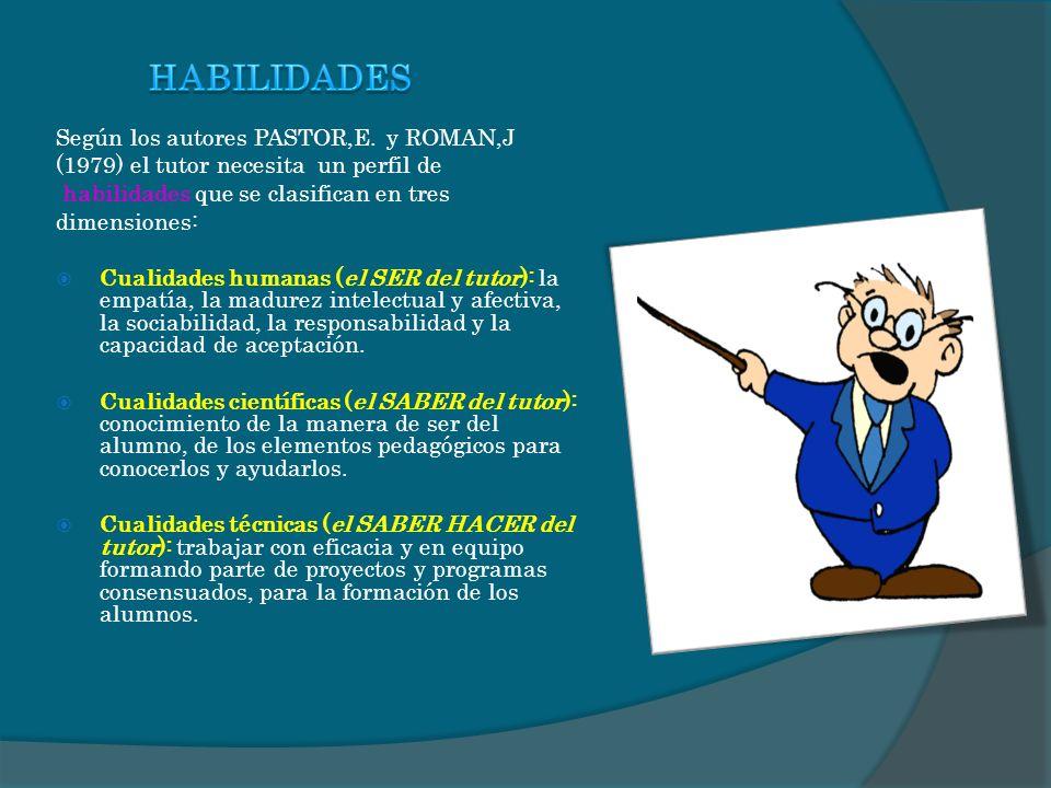 HABILIDADES Según los autores PASTOR,E. y ROMAN,J
