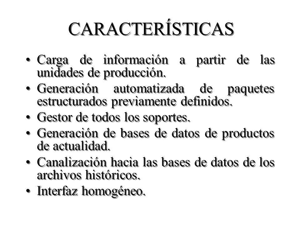 CARACTERÍSTICAS Carga de información a partir de las unidades de producción.