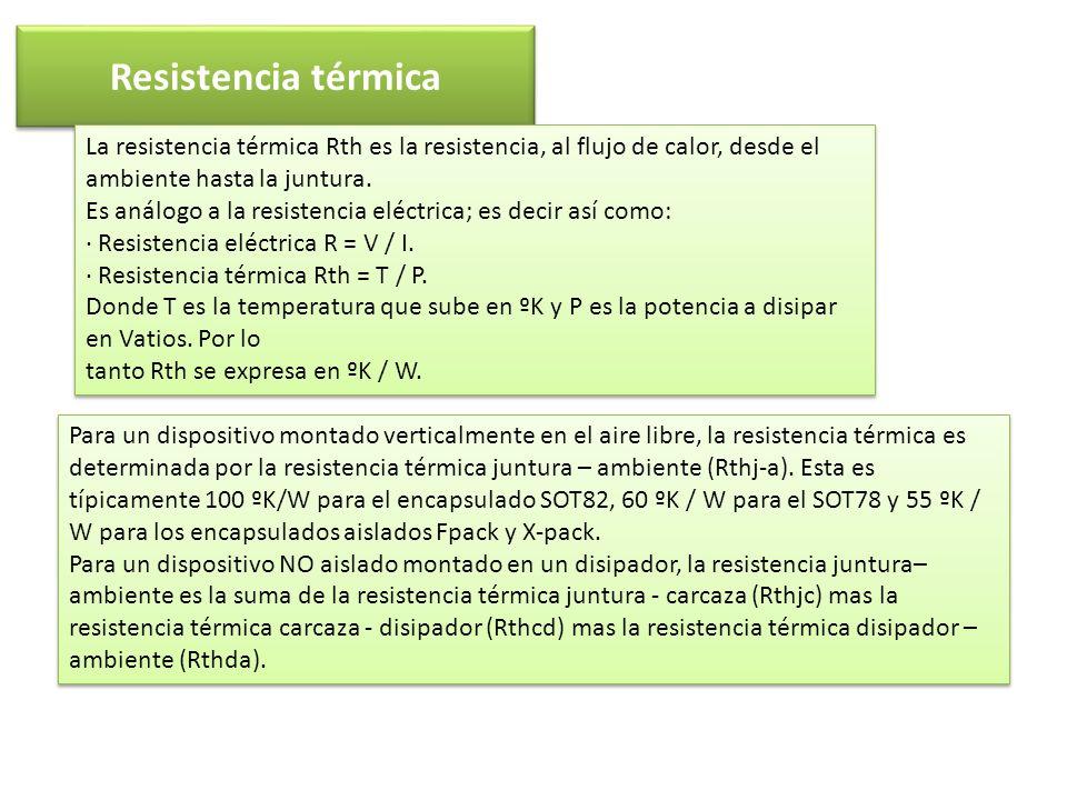 Resistencia térmica La resistencia térmica Rth es la resistencia, al flujo de calor, desde el ambiente hasta la juntura.