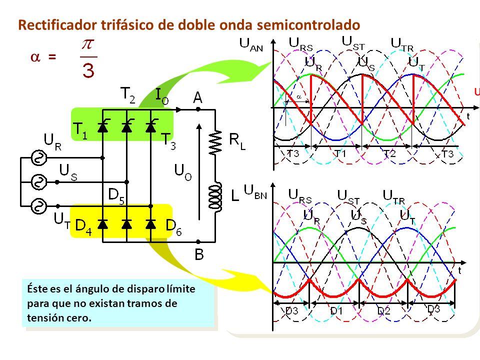  = Rectificador trifásico de doble onda semicontrolado UAN