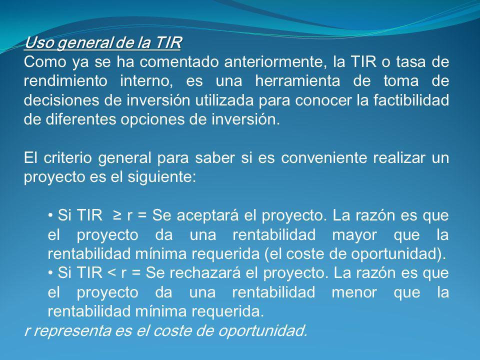 Uso general de la TIR