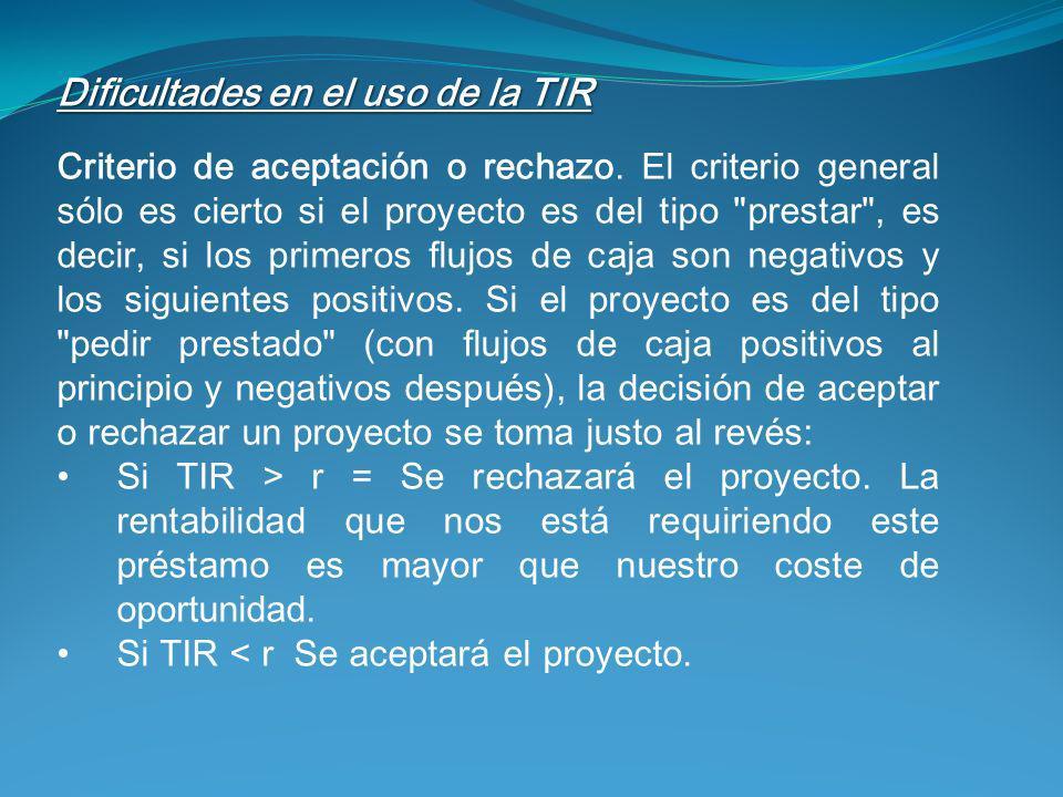 Dificultades en el uso de la TIR