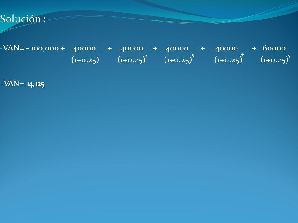 Solución : VAN= - 100,000 + 40000 + 40000 + 40000 + 40000 + 60000.