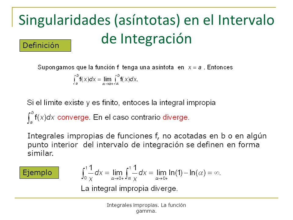 Singularidades (asíntotas) en el Intervalo de Integración