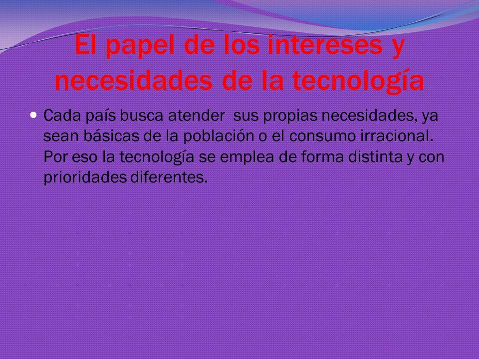 El papel de los intereses y necesidades de la tecnología