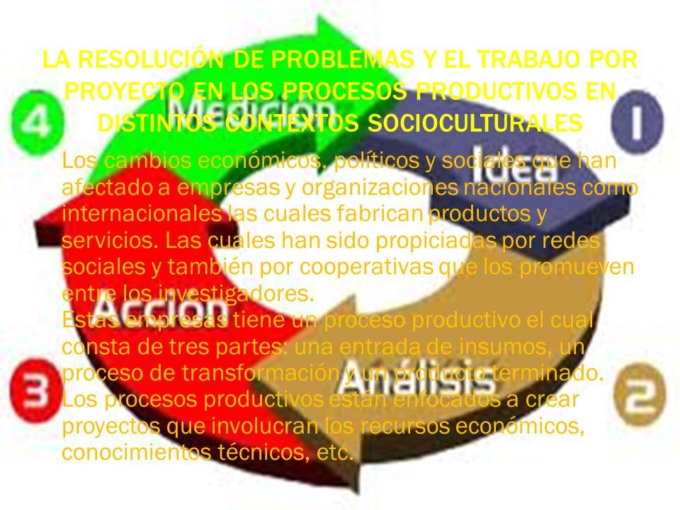 LA RESOLUCIÓN DE PROBLEMAS Y EL TRABAJO POR PROYECTO EN LOS PROCESOS PRODUCTIVOS EN DISTINTOS CONTEXTOS SOCIOCULTURALES