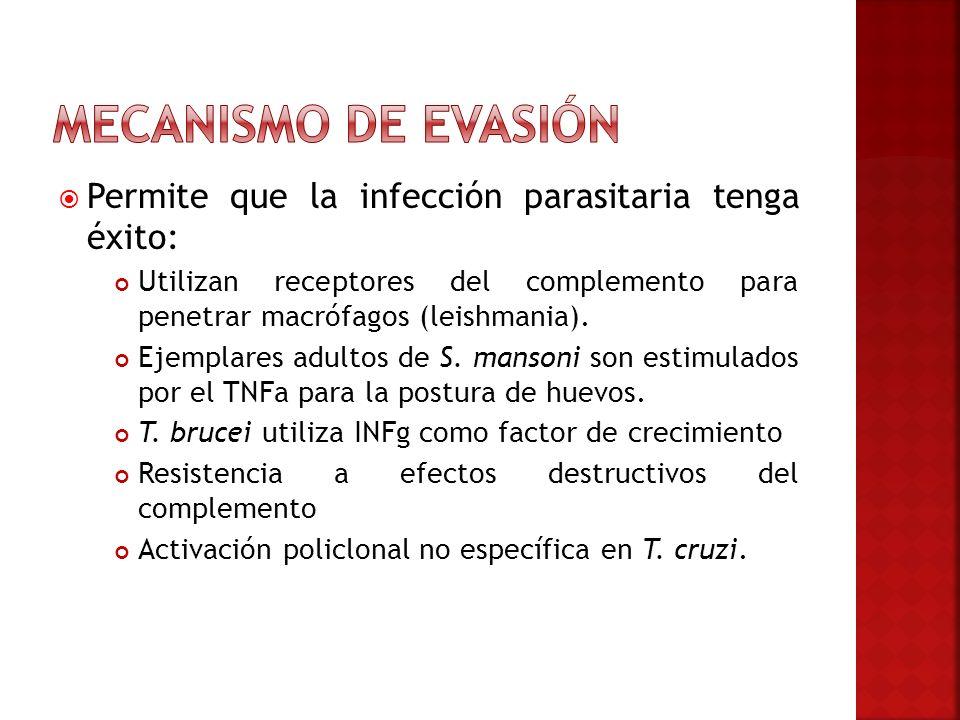 Mecanismo de evasión Permite que la infección parasitaria tenga éxito: