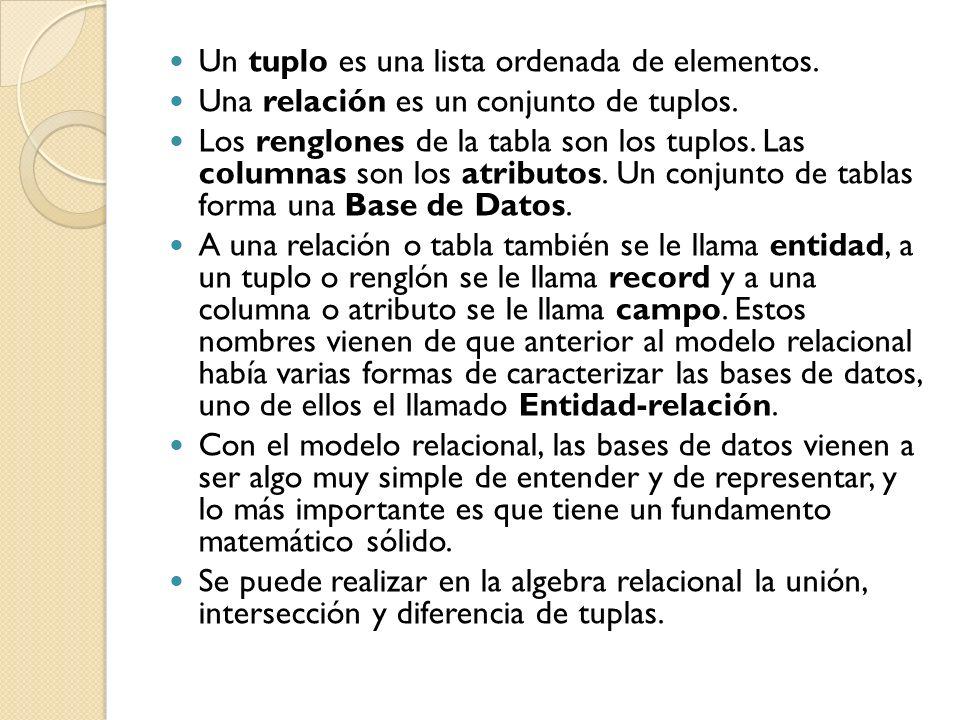 Un tuplo es una lista ordenada de elementos.
