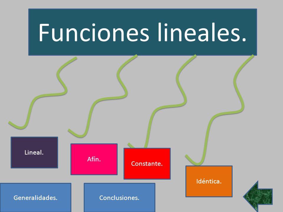 Funciones lineales. Lineal. Afín. Constante. Idéntica. Generalidades.
