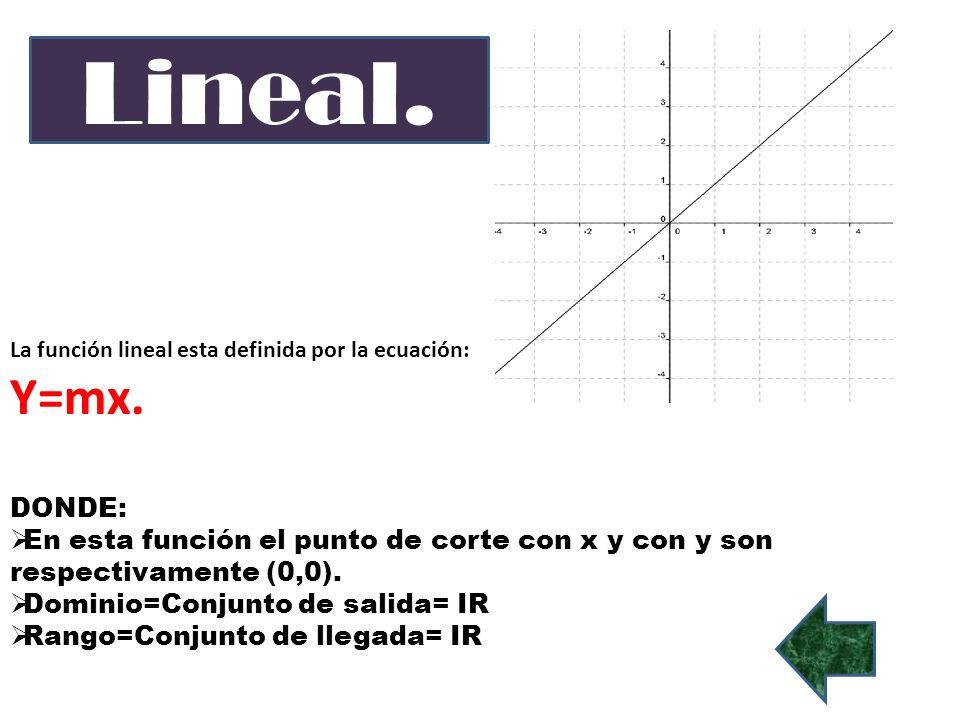 Lineal. La función lineal esta definida por la ecuación: Y=mx. DONDE: En esta función el punto de corte con x y con y son respectivamente (0,0).