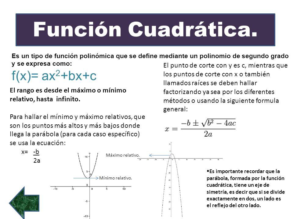 Función Cuadrática. f(x)= ax2+bx+c