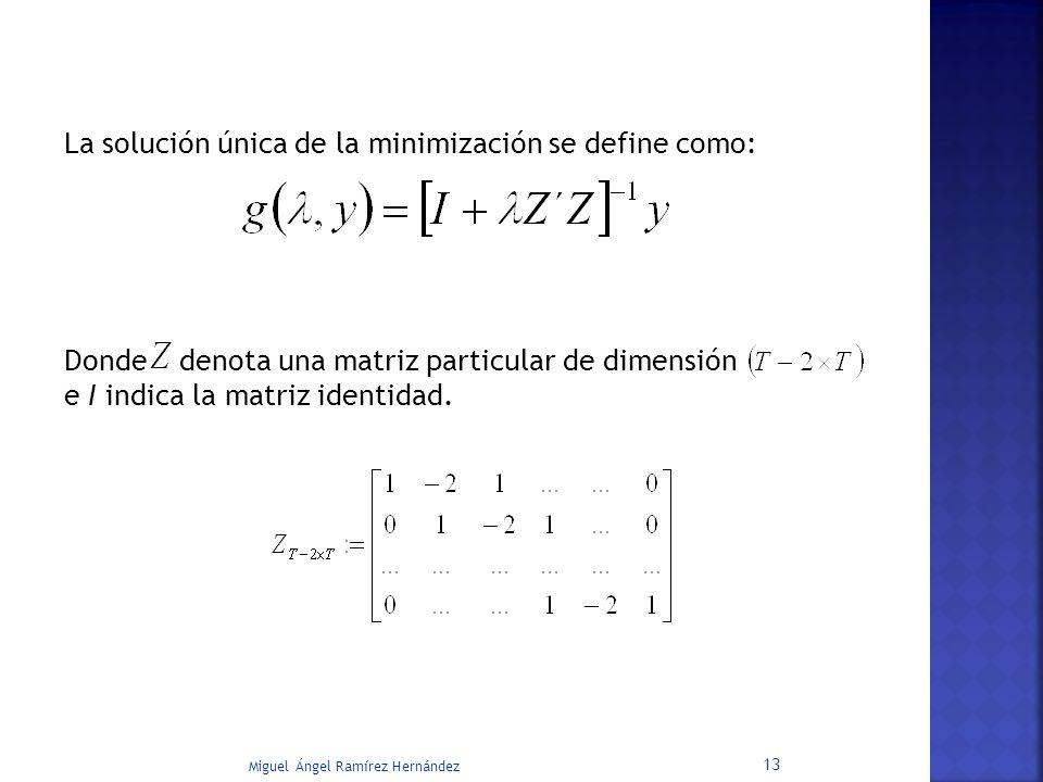 La solución única de la minimización se define como: Donde denota una matriz particular de dimensión e I indica la matriz identidad.