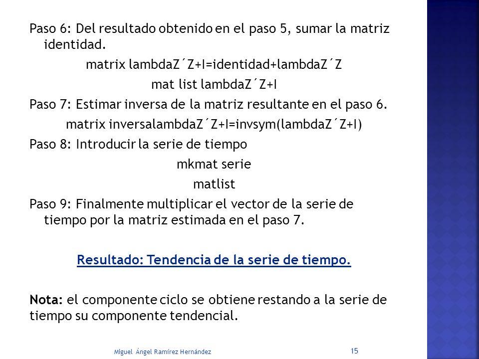 Paso 6: Del resultado obtenido en el paso 5, sumar la matriz identidad