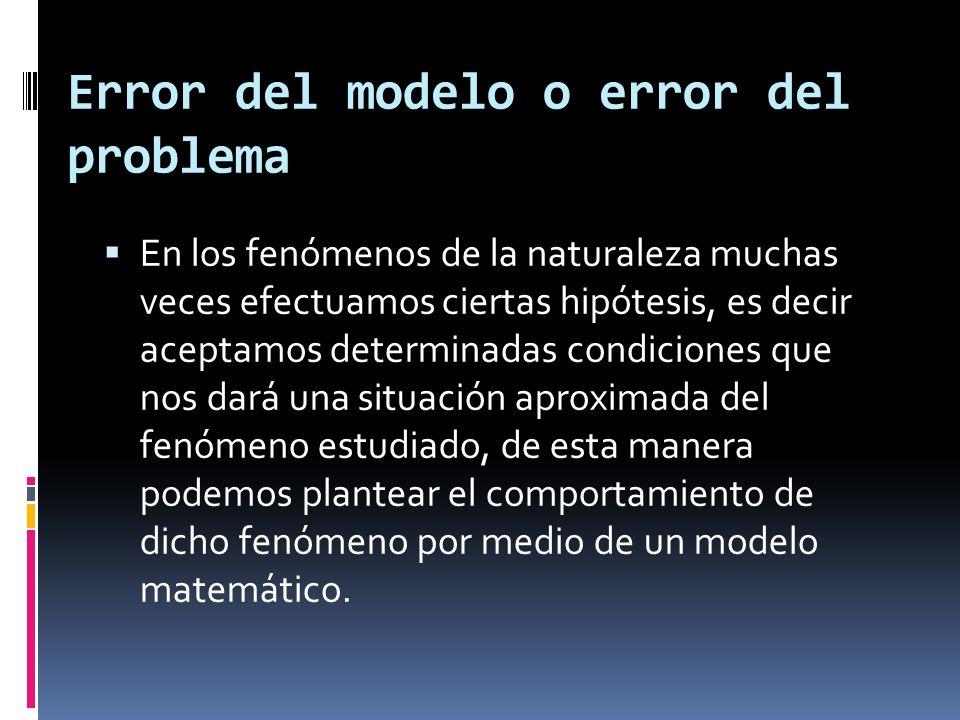 Error del modelo o error del problema