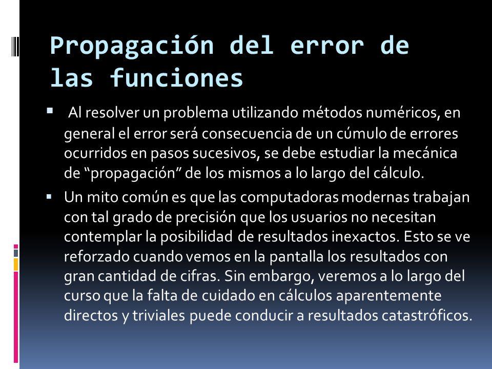 Propagación del error de las funciones
