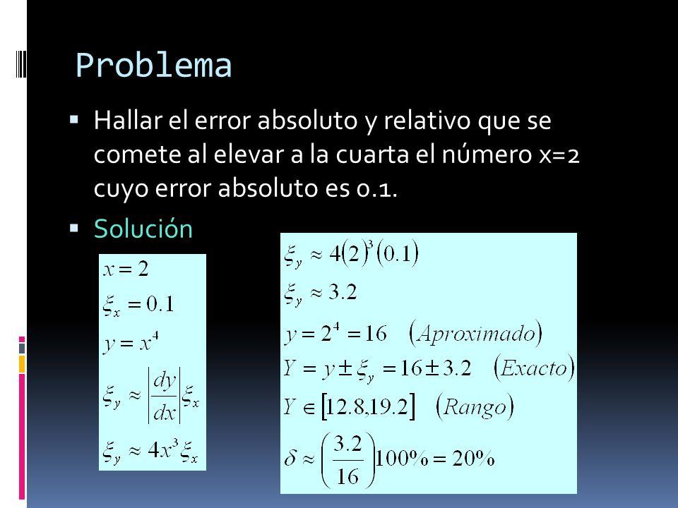 Problema Hallar el error absoluto y relativo que se comete al elevar a la cuarta el número x=2 cuyo error absoluto es 0.1.