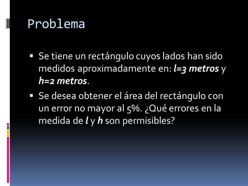Problema Se tiene un rectángulo cuyos lados han sido medidos aproximadamente en: l=3 metros y h=2 metros.