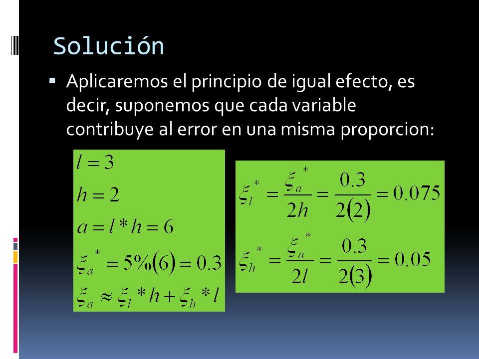 Solución Aplicaremos el principio de igual efecto, es decir, suponemos que cada variable contribuye al error en una misma proporcion: