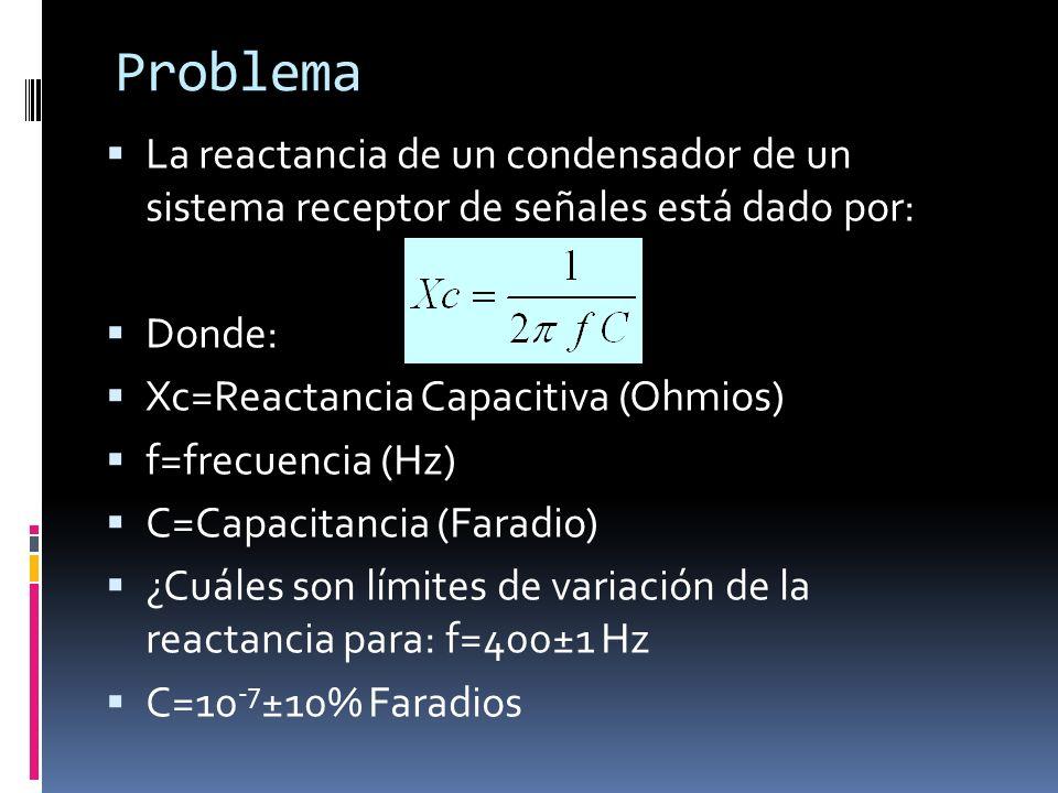 Problema La reactancia de un condensador de un sistema receptor de señales está dado por: Donde: Xc=Reactancia Capacitiva (Ohmios)