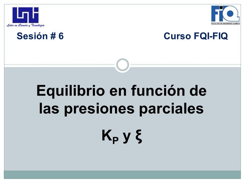 Equilibrio en función de las presiones parciales