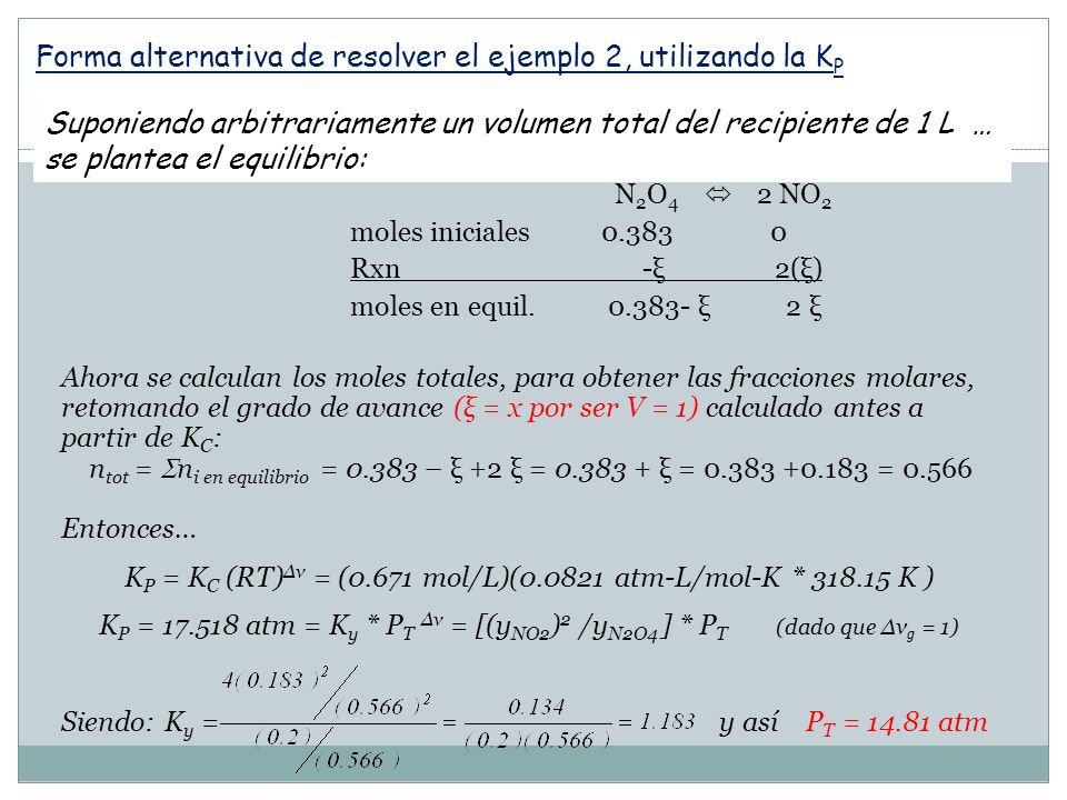 Forma alternativa de resolver el ejemplo 2, utilizando la KP