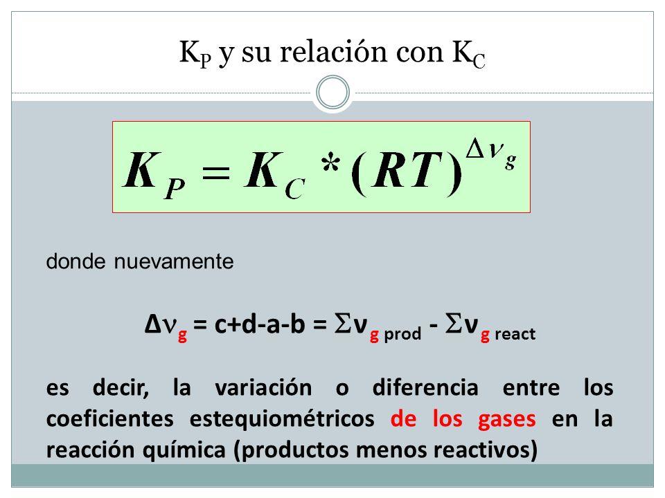 KP y su relación con KC Δg = c+d-a-b = ν g prod - ν g react