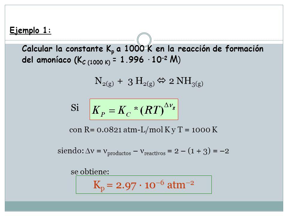 siendo: ν = νproductos – νreactivos = 2 – (1 + 3) = –2