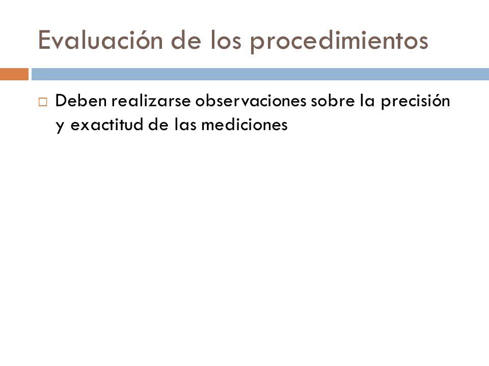 Evaluación de los procedimientos