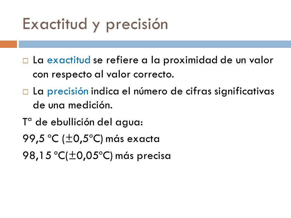 Exactitud y precisión La exactitud se refiere a la proximidad de un valor con respecto al valor correcto.