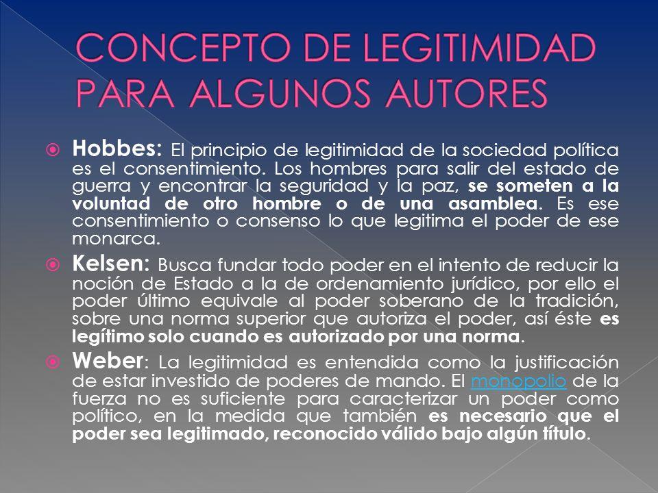 CONCEPTO DE LEGITIMIDAD PARA ALGUNOS AUTORES