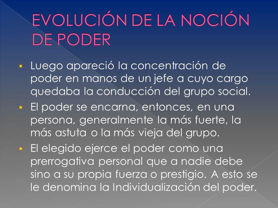 EVOLUCIÓN DE LA NOCIÓN DE PODER