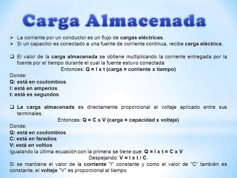 Carga Almacenada La corriente por un conductor es un flujo de cargas eléctricas.